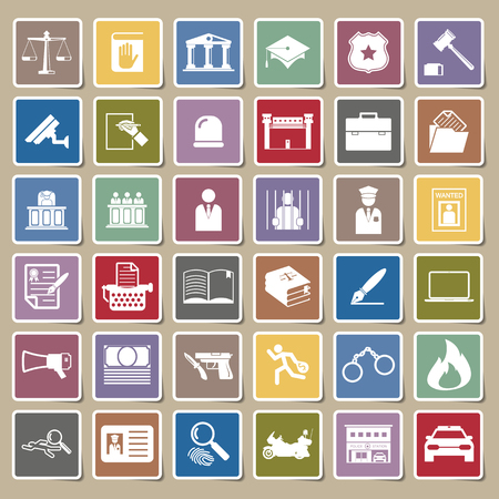 legal court: Law and police icon Sticker set Illustration