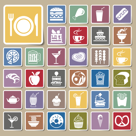 vector menu food and drink icons Sticker set Vector