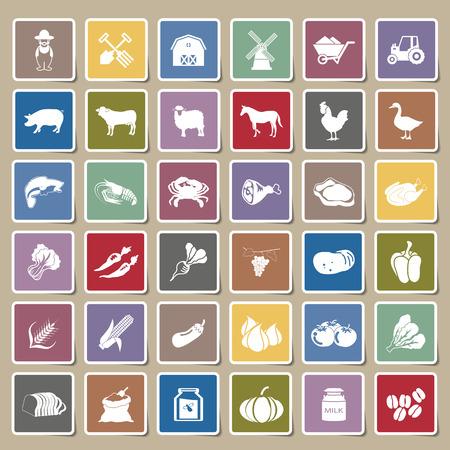 farm icons Sticker Set Vector
