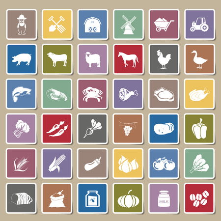 rice and beans: farm icons Sticker Set