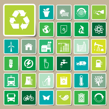 Ecology and recycle icons, Sticker vector eps10 Vector