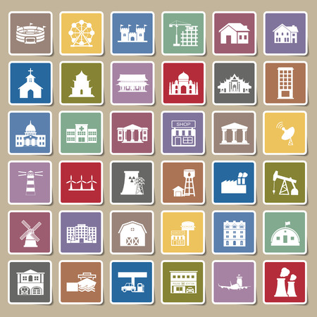 waterworks: Buildings city icon Sticker set Illustration