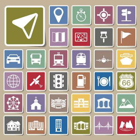 Navigation icons Sticker Vector