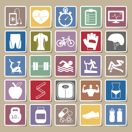 body fat: Fitness Icons Sticker set