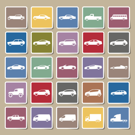 Cars icons Sticker set ,vector EPS10 Vector