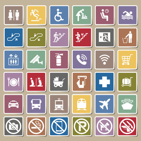 emergency cart: Public signs vector Sticker set