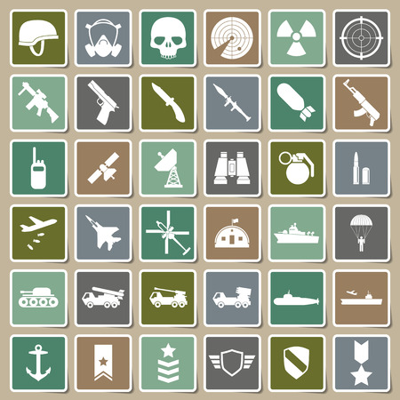 Military icons Sticker set Vector