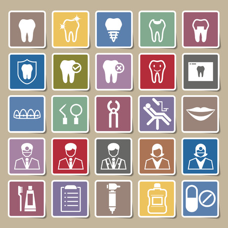 Dental icons Sticker set Vector