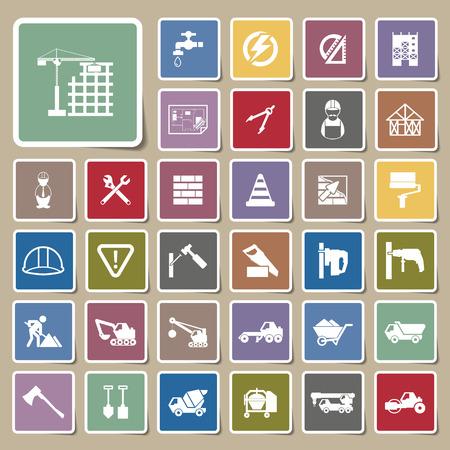 warning saw: Construction Icons Sticker set