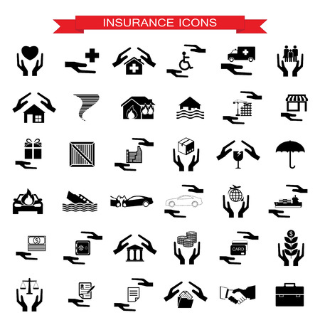 Insurance Car, home, disasters, investment, health, and travel icons  set Vector