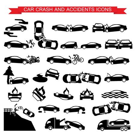 cabeza abajo: accidente de coche y accidentes iconos