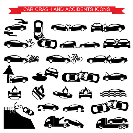 car crash: auto-ongeluk en ongevallen pictogrammen Stock Illustratie