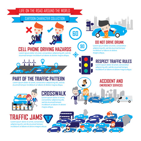 Verkeer in de stad, Stripfiguren infographic Stock Illustratie
