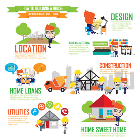 real estate planning: Step by Step details of home construction Illustration