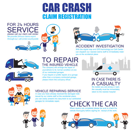 car crash: Verzekering auto-ongeluk, Stripfiguren infographic Stock Illustratie