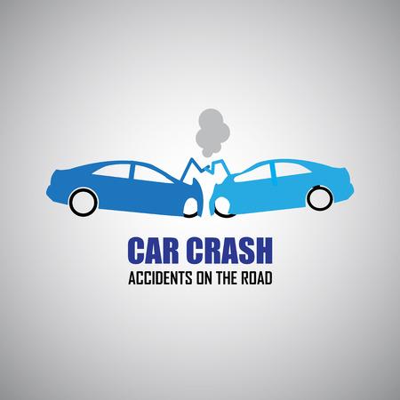 車のクラッシュや事故のアイコン  イラスト・ベクター素材