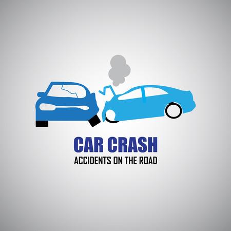 auto-ongeluk en ongevallen pictogrammen Stock Illustratie