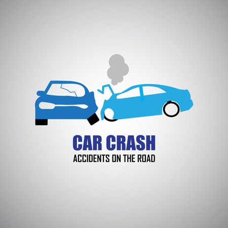 auto accident: car crash and accidents icons Illustration