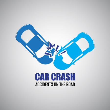 Autounfall und Unfälle Symbole Vektorgrafik