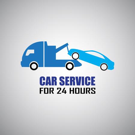 자동차 견인 트럭 일러스트