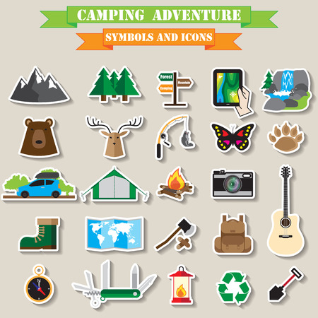 butterfly knife: camping icon set Illustration