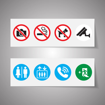 women smoking: Public signs vector set Illustration