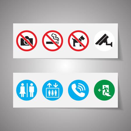 no symbol: Public signs vector set Illustration