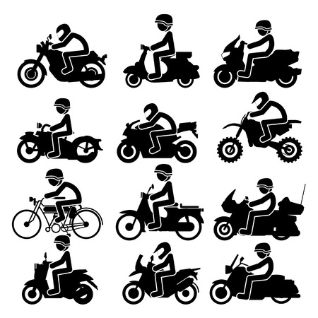 Motorcycle rider Icons set. Vector Illustration Çizim