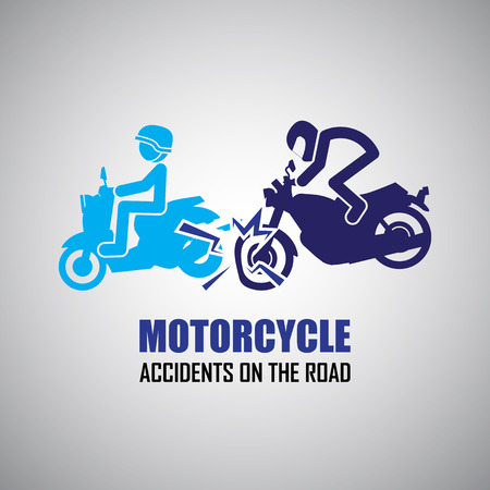 Motorcycle crash and accidents icons Vector