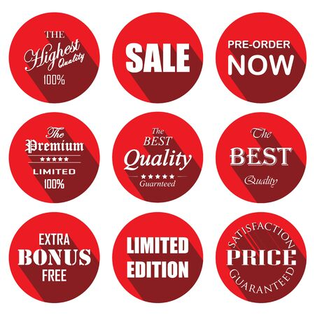 price tag red circle labels and stickers Vector