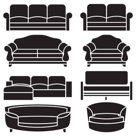 sofa set: chair and sofa vector set