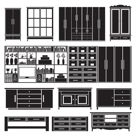 cabinets: Cabinets and shelves vector set Illustration