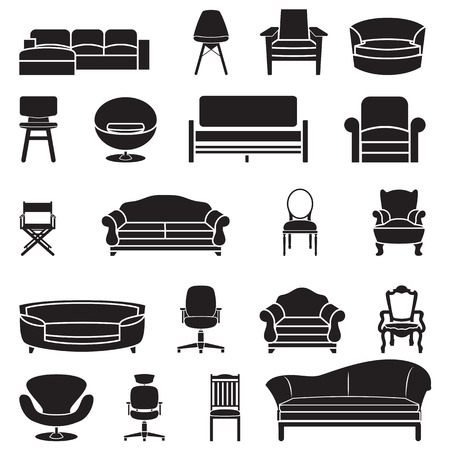 vector chair: chair and sofa vector set