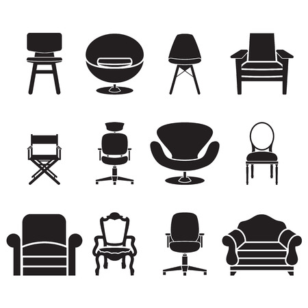 furniture shop: chair and sofa vector set