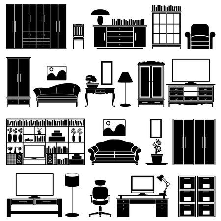 ベクトルの家具セット