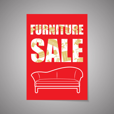 fairs: Furniture design vector template layout for magazine and brochure in A4 size