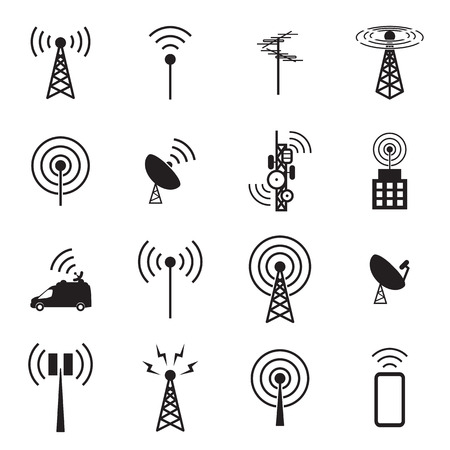 wireless communication: Antenna icon set Illustration