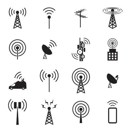 Antenne, icône, ensemble