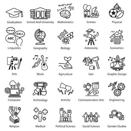 sciences: Education Study icons set