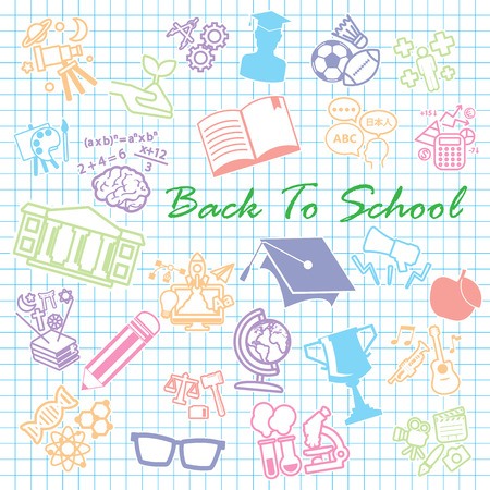 sciences: Back to School background,icon set