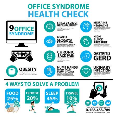 オフィス症候群インフォ グラフィックとアイコン