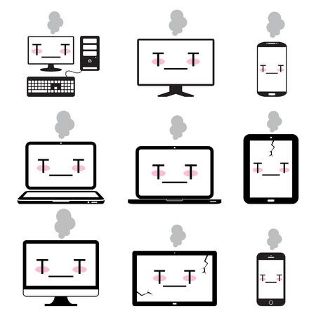 hard drive crash: sick desktop, notebook, Smart phones, computer icon set