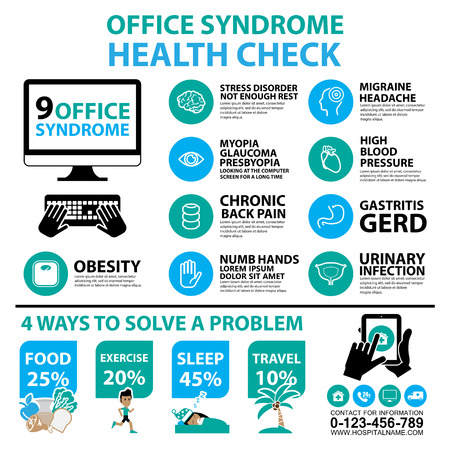 Office syndrome Infographics and icons Vector