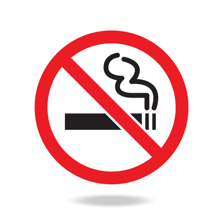prohibido fumar: Muestra de no fumadores y símbolo Vectores