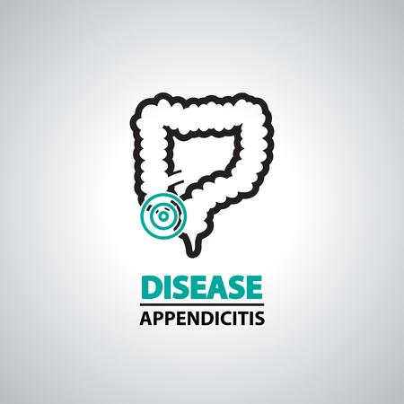 cecum: Appendicitis icons and symbol
