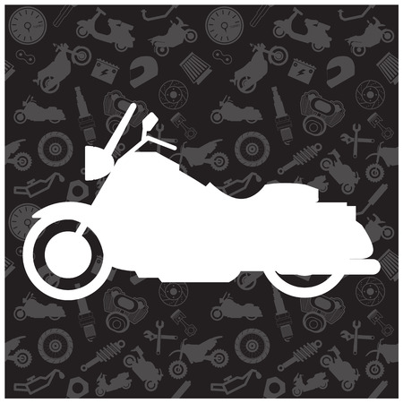 Motorcycle, background pattern and icon Vector