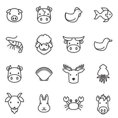granja avicola: icono de los animales de granja Vectores