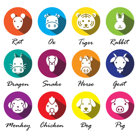 chinese astrology: vector Chinese zodiac animal icons