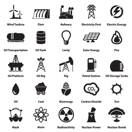 solar power station: Energy, electricity, power icons Signs and Symbols Illustration