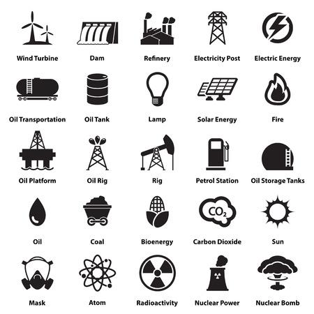 Nergie, l'électricité, la puissance icônes Signes et symboles Banque d'images - 37037259